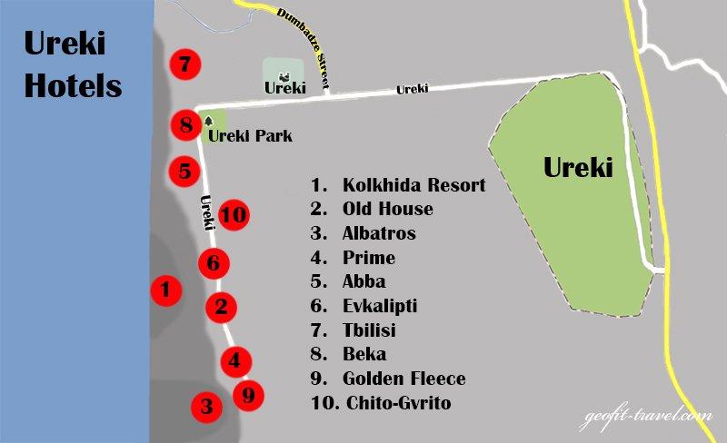 Map Of Georgia Hotels.Ureki Geofit Travel