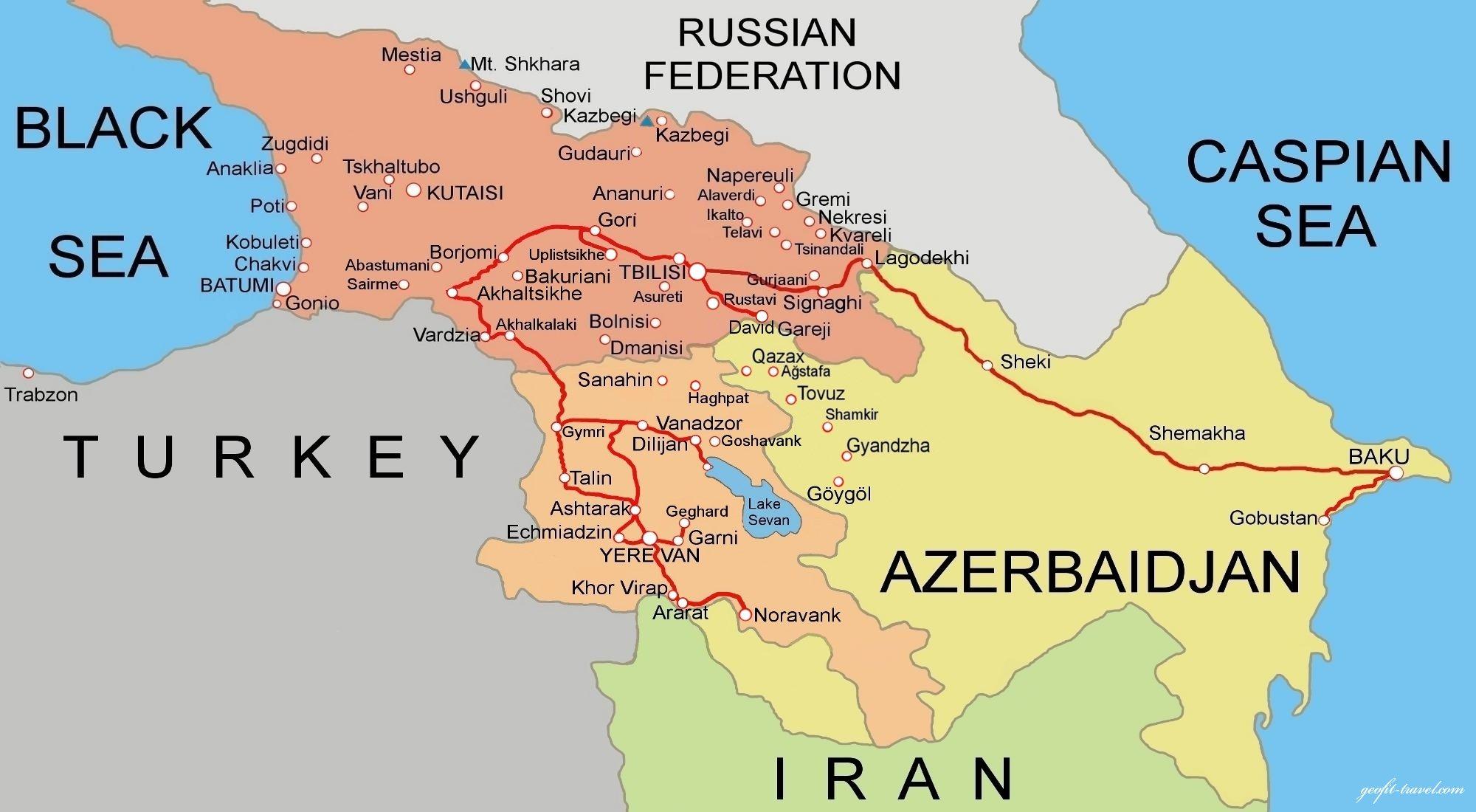 Touroperator GeofitTravel ArmeniaGeorgiaAzerbaijan Travel - Yerevan georgia map